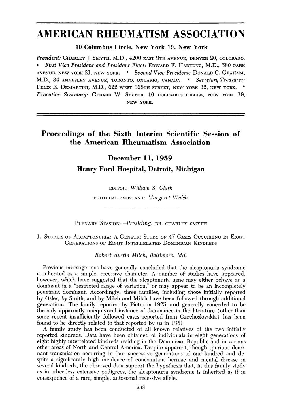 Обкладинка книги Proceedings of the Sixth Interim Scientific Session of the American Rheumatism Association, December 1959