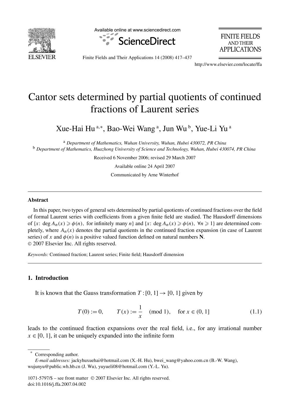 Copertina del libro Cantor sets determined by partial quotients of continued fractions of Laurent series