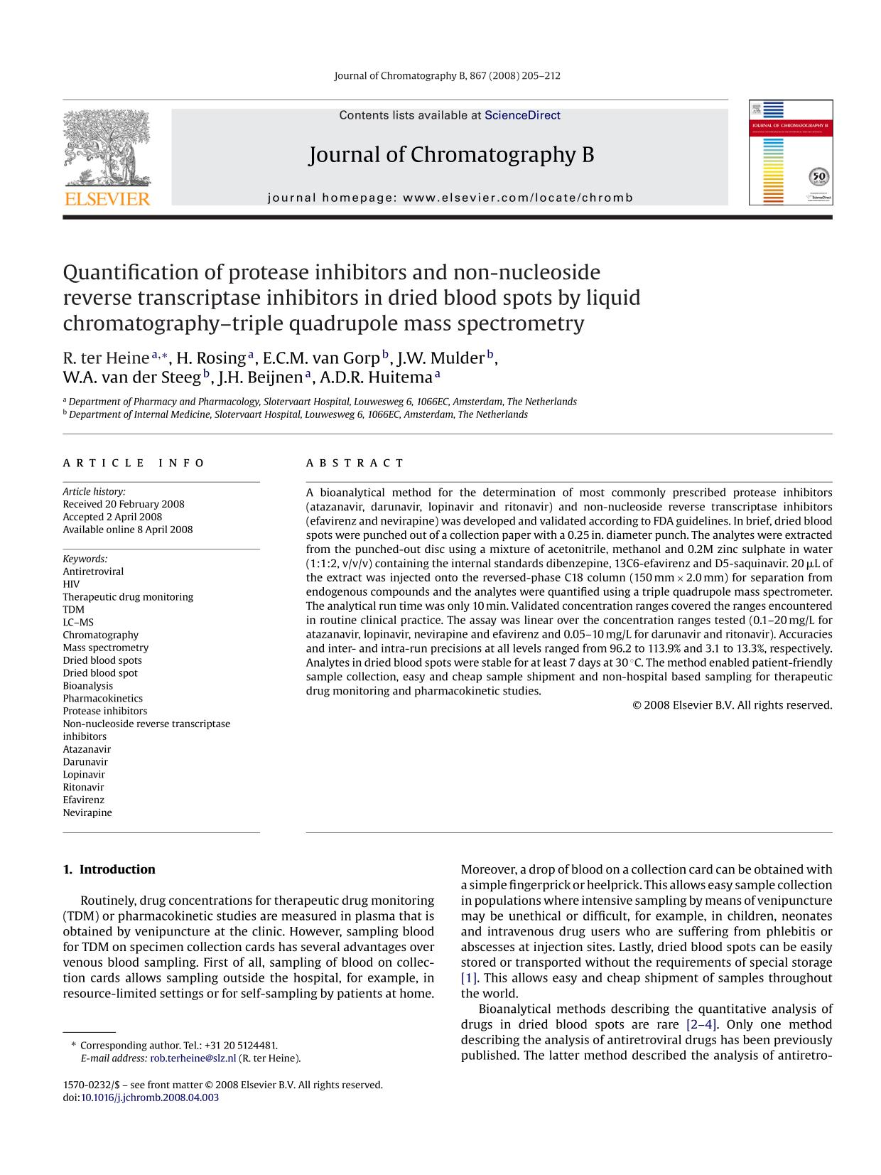 Book cover Quantification of protease inhibitors and non-nucleoside reverse transcriptase inhibitors in dried blood spots by liquid chromatography–triple quadrupole mass spectrometry