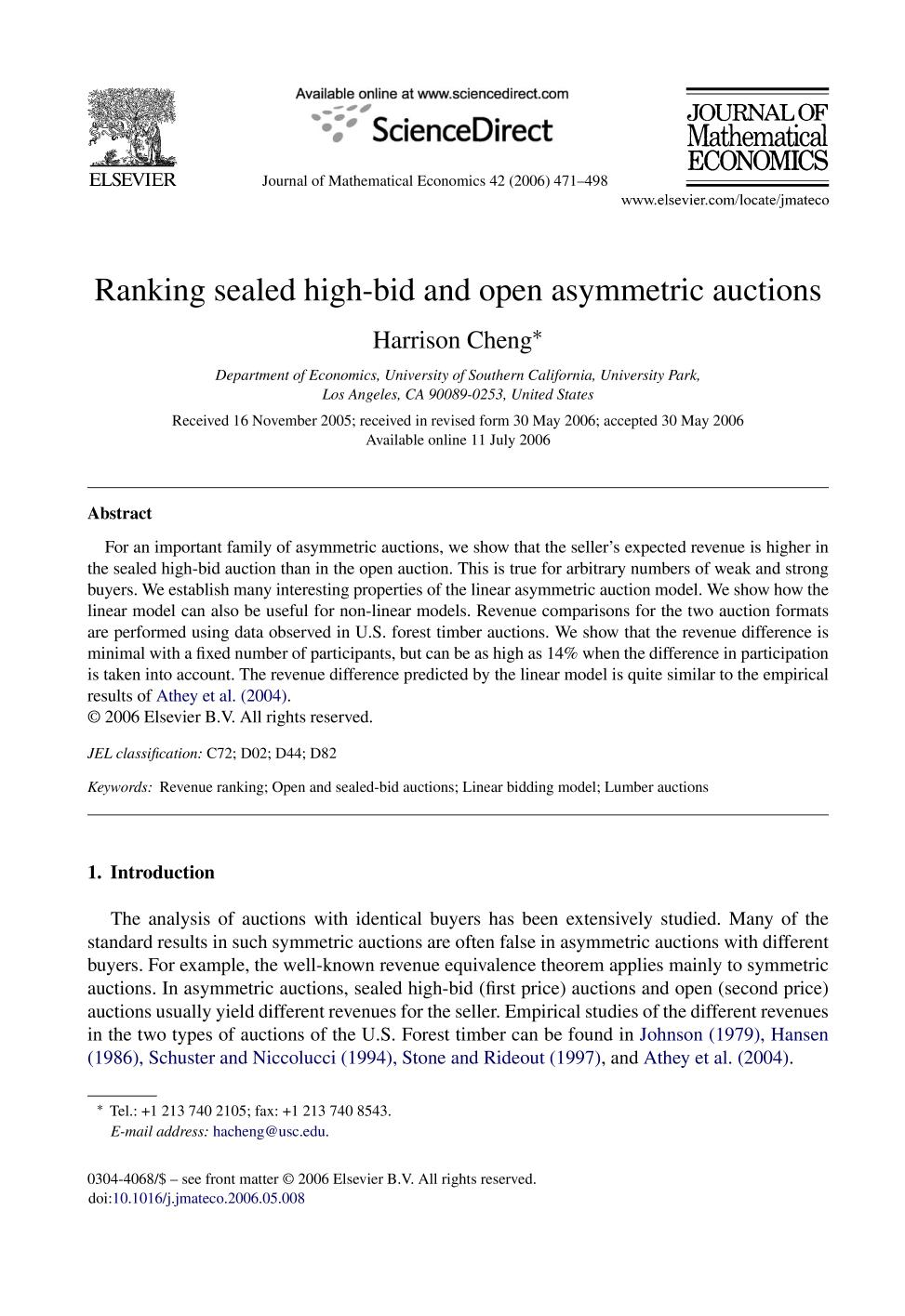 Couverture Ranking sealed high-bid and open asymmetric auctions