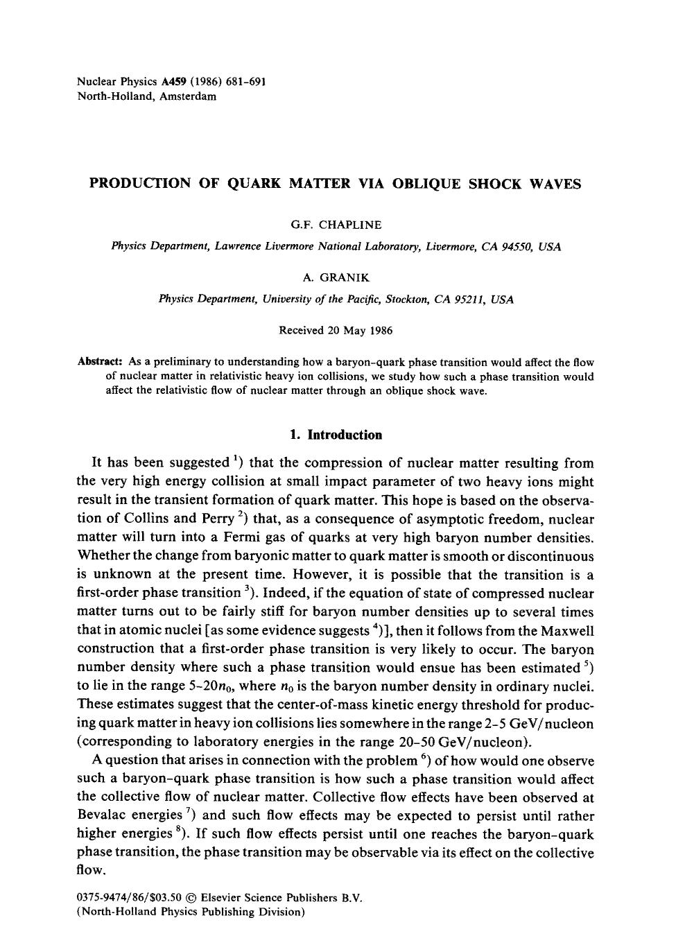 Book cover Production of quark matter via oblique shock waves