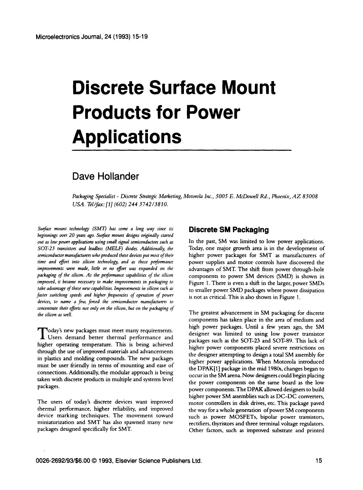Book cover Discrete surface mount products for power applications