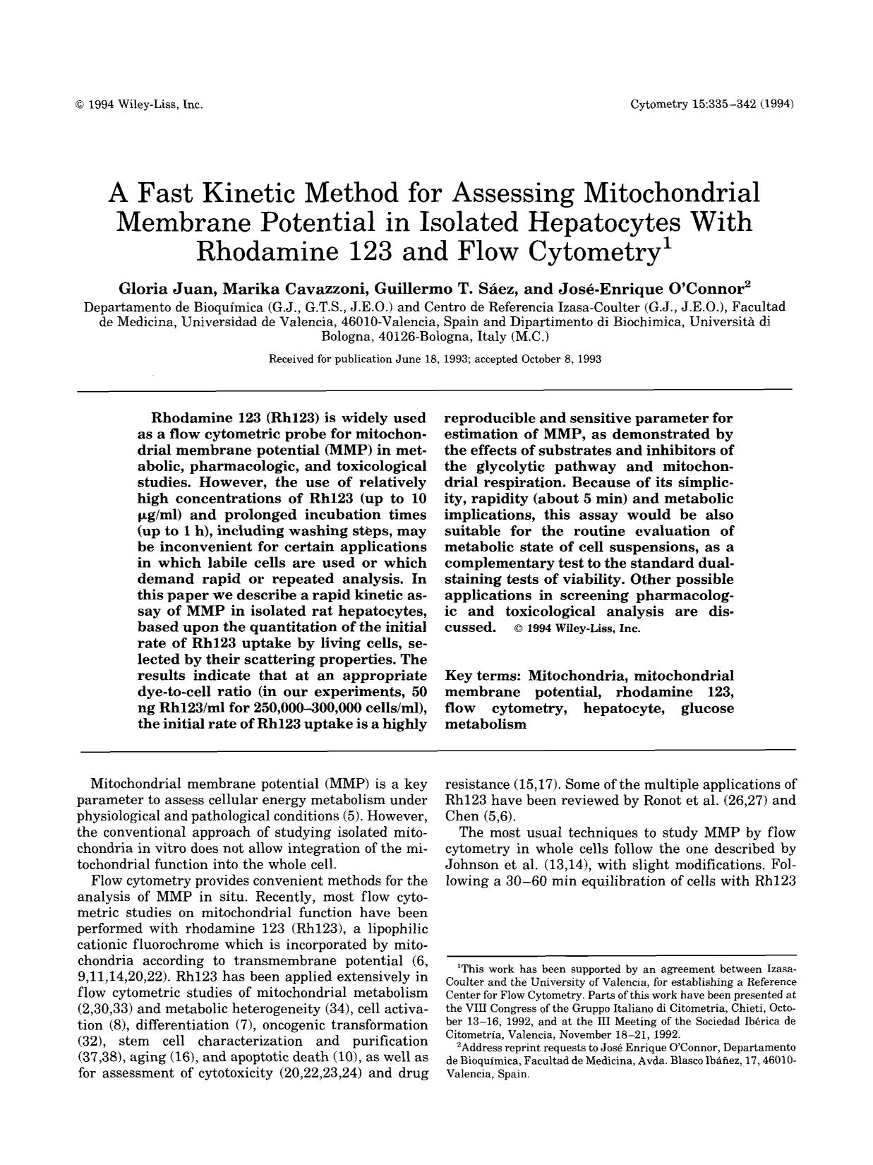 Book cover A fast kinetic method for assessing mitochondrial membrane potential in isolated hepatocytes with rhodamine 123 and flow cytometry