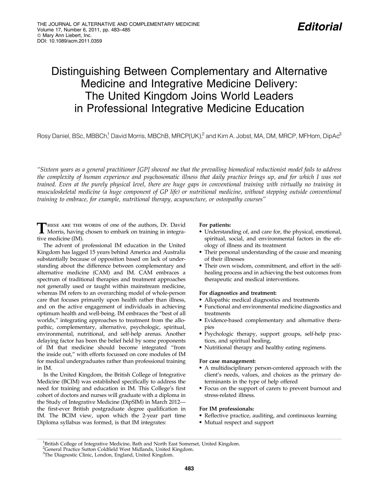 Book cover Distinguishing Between Complementary and Alternative Medicine and Integrative Medicine Delivery: The United Kingdom Joins World Leaders in Professional Integrative Medicine Education