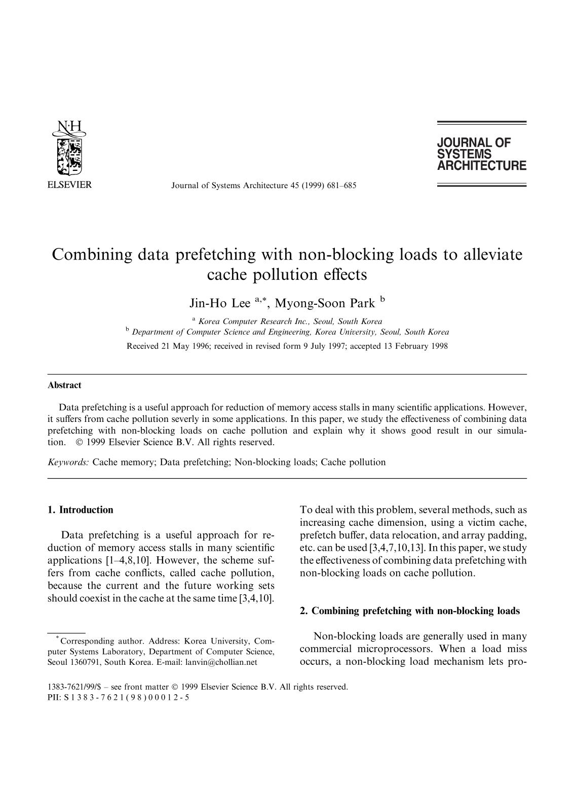 Book cover Combining data prefetching with non-blocking loads to alleviate cache pollution effects