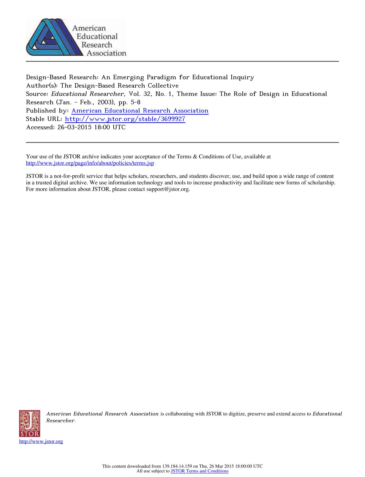 Book cover Theme Issue: The Role of Design in Educational Research    Design-Based Research: An Emerging Paradigm for Educational Inquiry