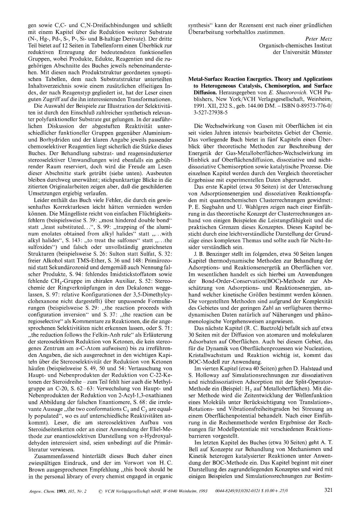 Kover buku Metal-Surface Reaction Energetics. Theory and Applications to Heterogeneous Catalysis, Chemisorption, and Surface Diffusion. Herausgegeben von <em>E. Shustorovich</em>. VCH Publishers, New York/VCH Verlagsgesellschaft, Weinheim, 1991. XII, 232 S., geb. 144.00 DM. – ISBN 0-89573-776-0/ 3-527-27938-5