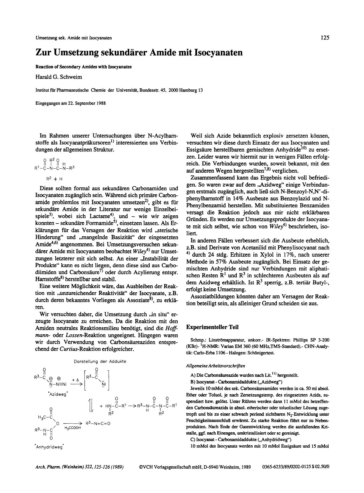 Book cover Zur Umsetzung sekundärer Amide mit Isocyanaten. Reaction of Secondary Amides with Isocyanates