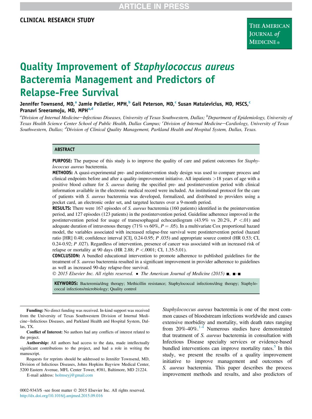 Book cover Quality Improvement of Staphylococcus aureus Bacteremia Management and Predictors of Relapse-Free Survival