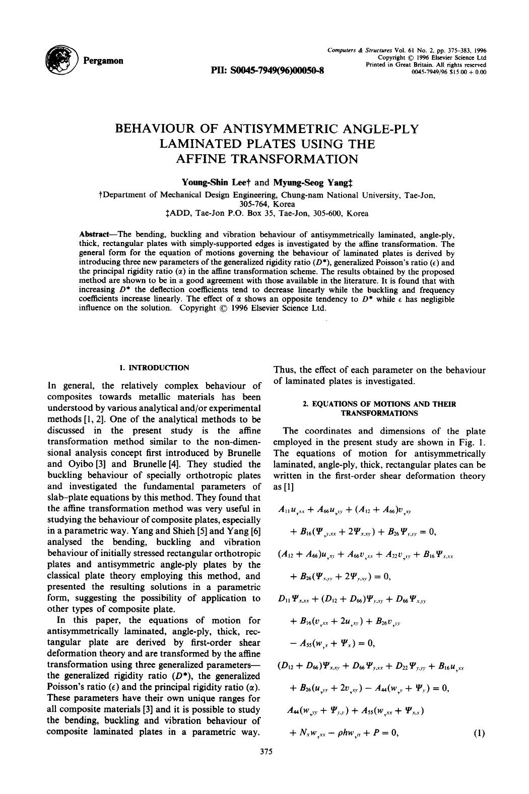 पुस्तक आवरण Behaviour of antisymmetric angle-ply laminated plates using the affine transformation