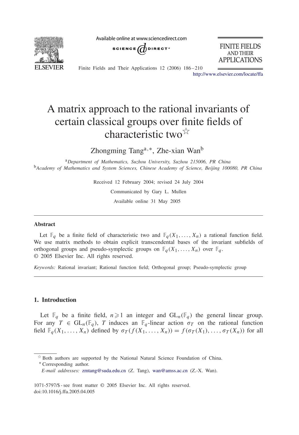 Book cover A matrix approach to the rational invariants of certain classical groups over finite fields of characteristic two