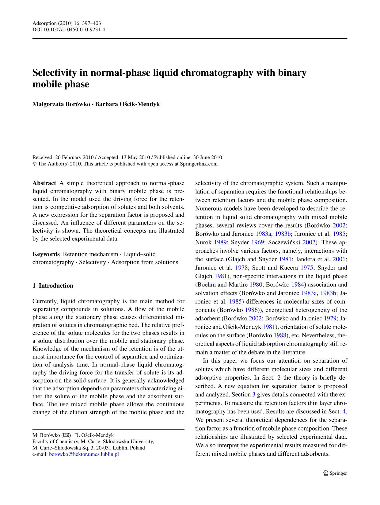 Book cover Selectivity in normal-phase liquid chromatography with binary mobile phase