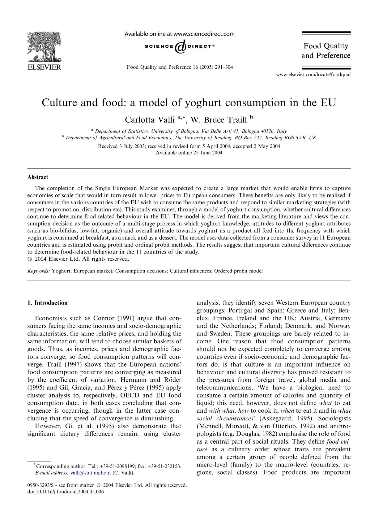 Book cover Culture and food: a model of yoghurt consumption in the EU