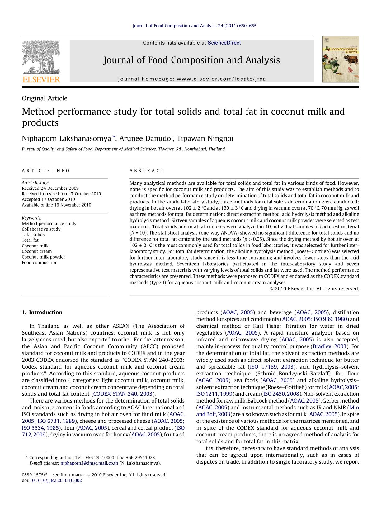 Book cover Method performance study for total solids and total fat in coconut milk and products