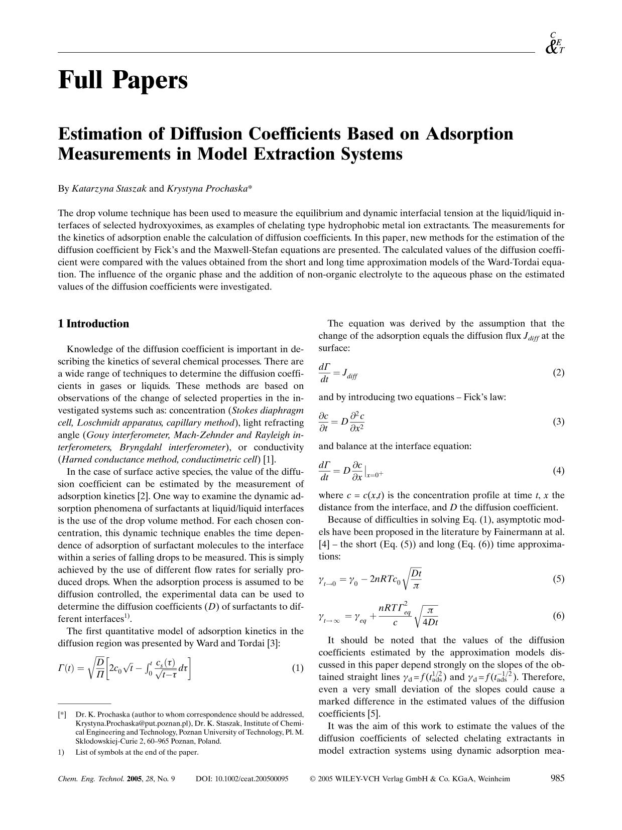 書籍の表紙 Estimation of Diffusion Coefficients Based on Adsorption Measurements in Model Extraction Systems
