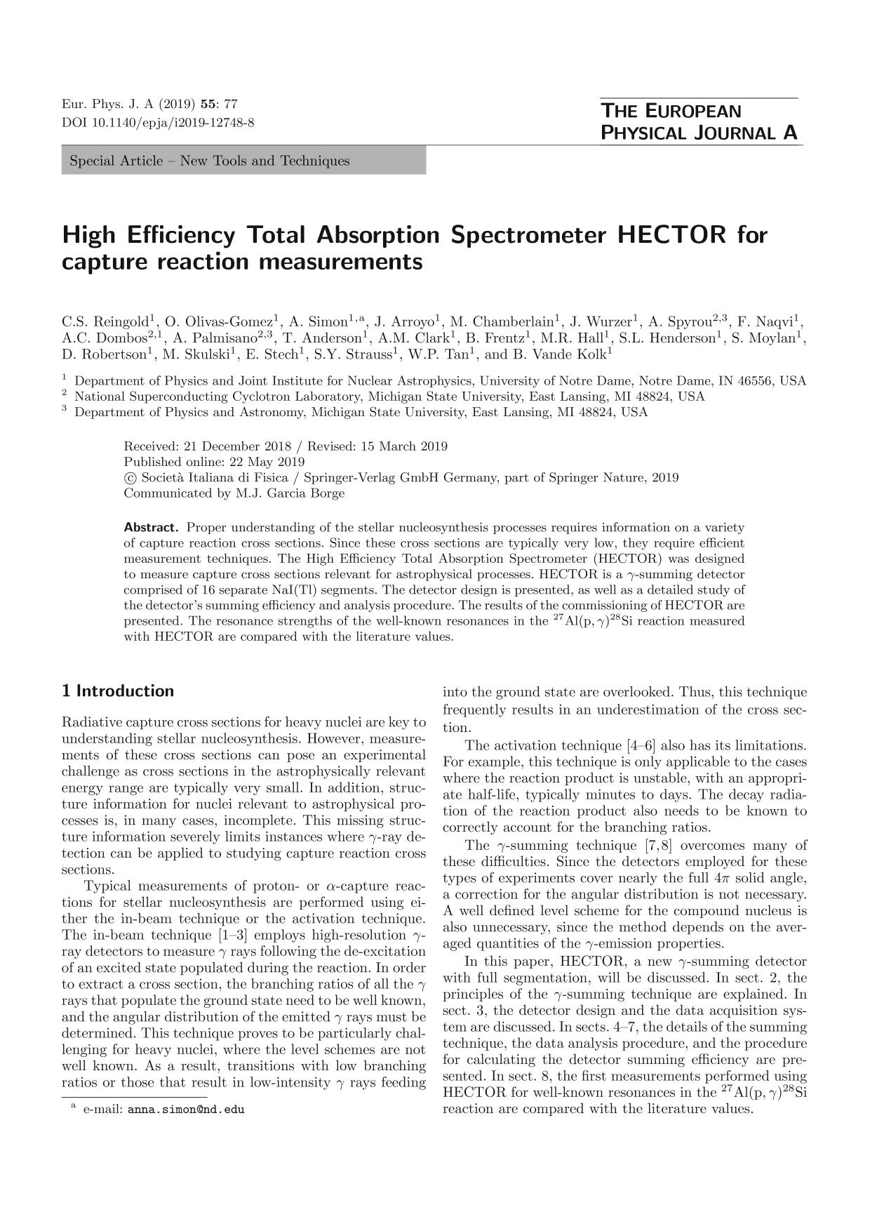 Book cover High Efficiency Total Absorption Spectrometer HECTOR for capture reaction measurements