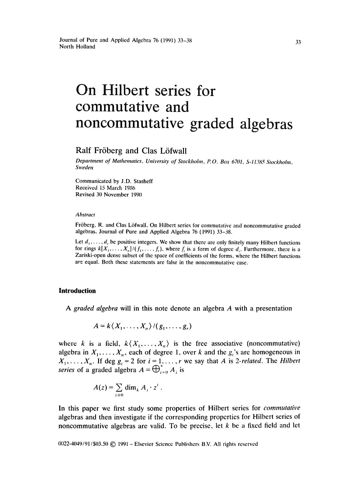 書籍の表紙 On Hilbert series for commutative and noncommutative graded algebras