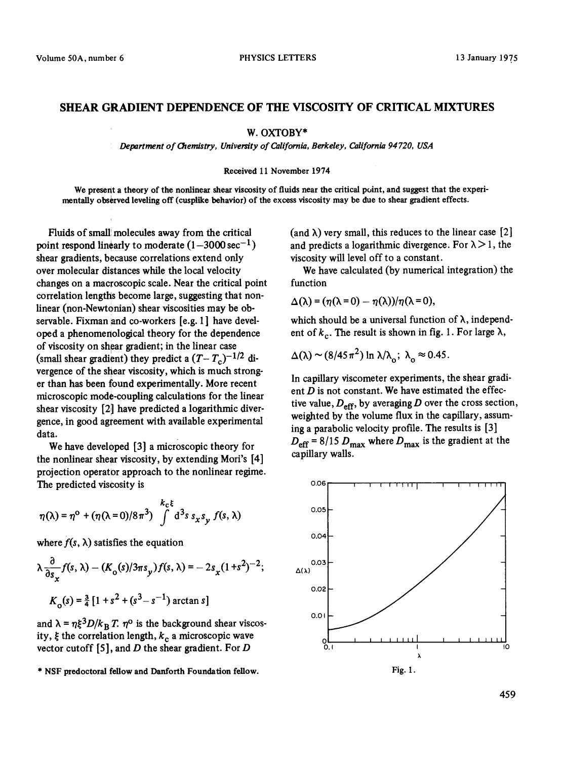 Book cover Shear gradient dependence of the viscosity of critical mixtures