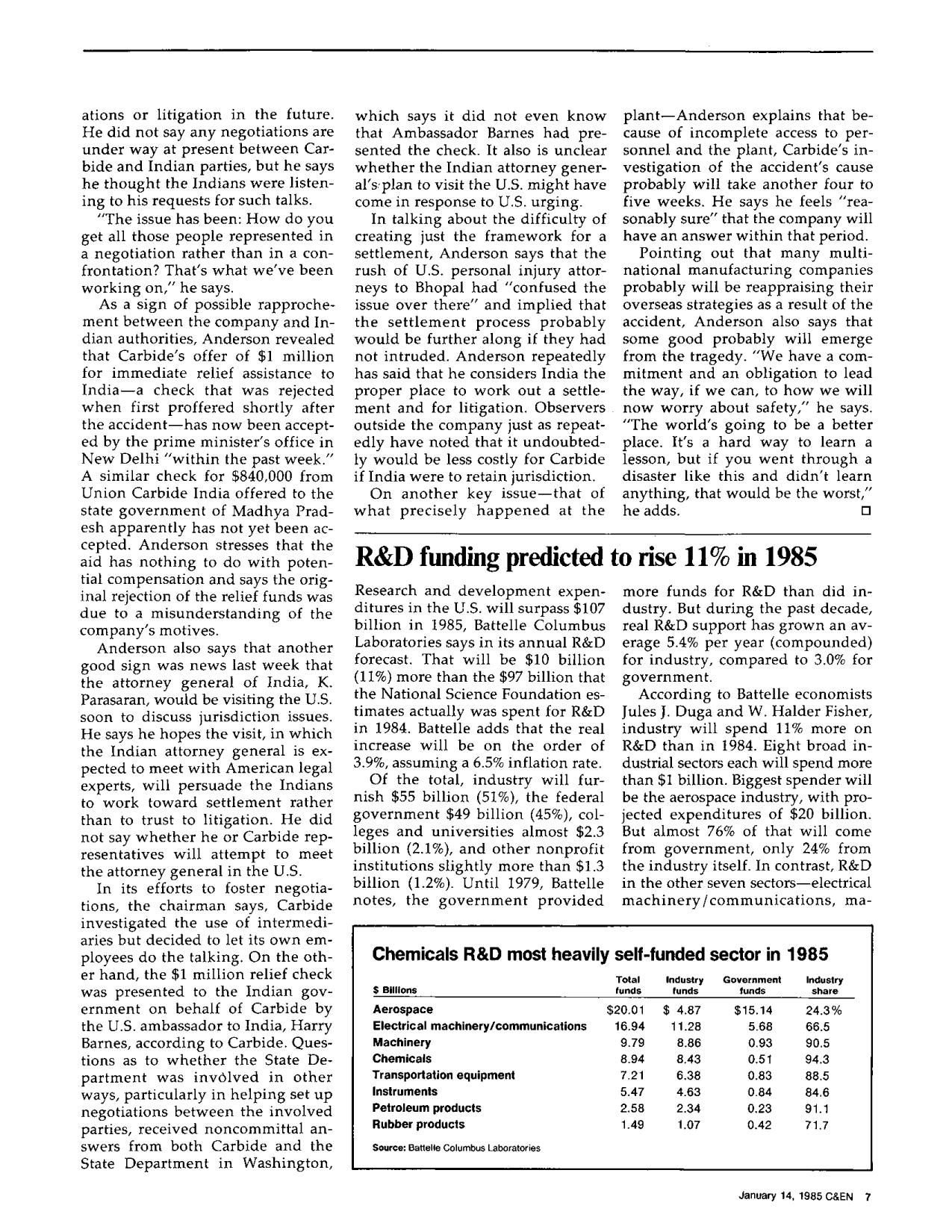Portada del libro R&D funding predicted to rise 11% in 1985
