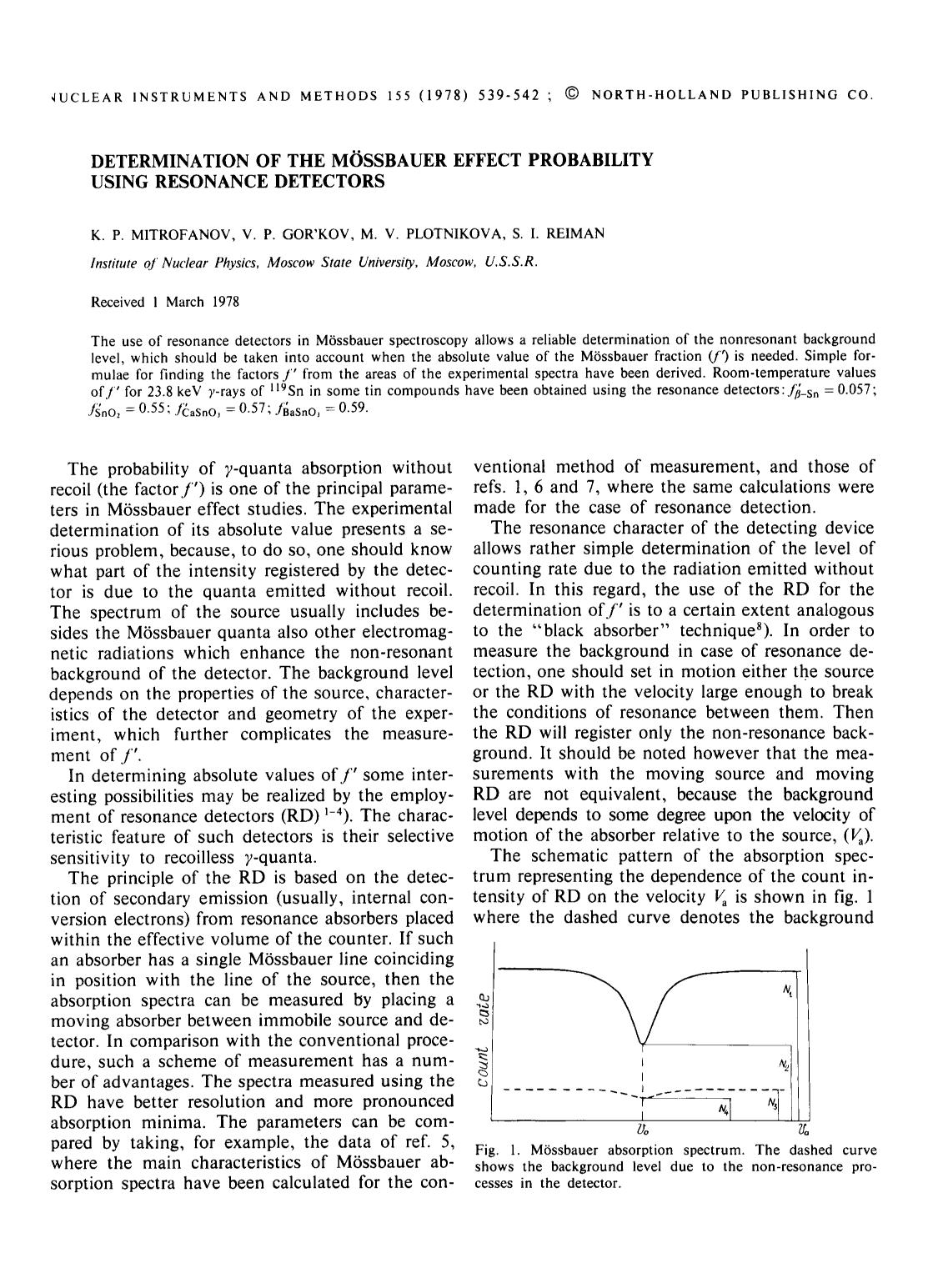 Book cover Determination of the Mössbauer effect probability using resonance detectors