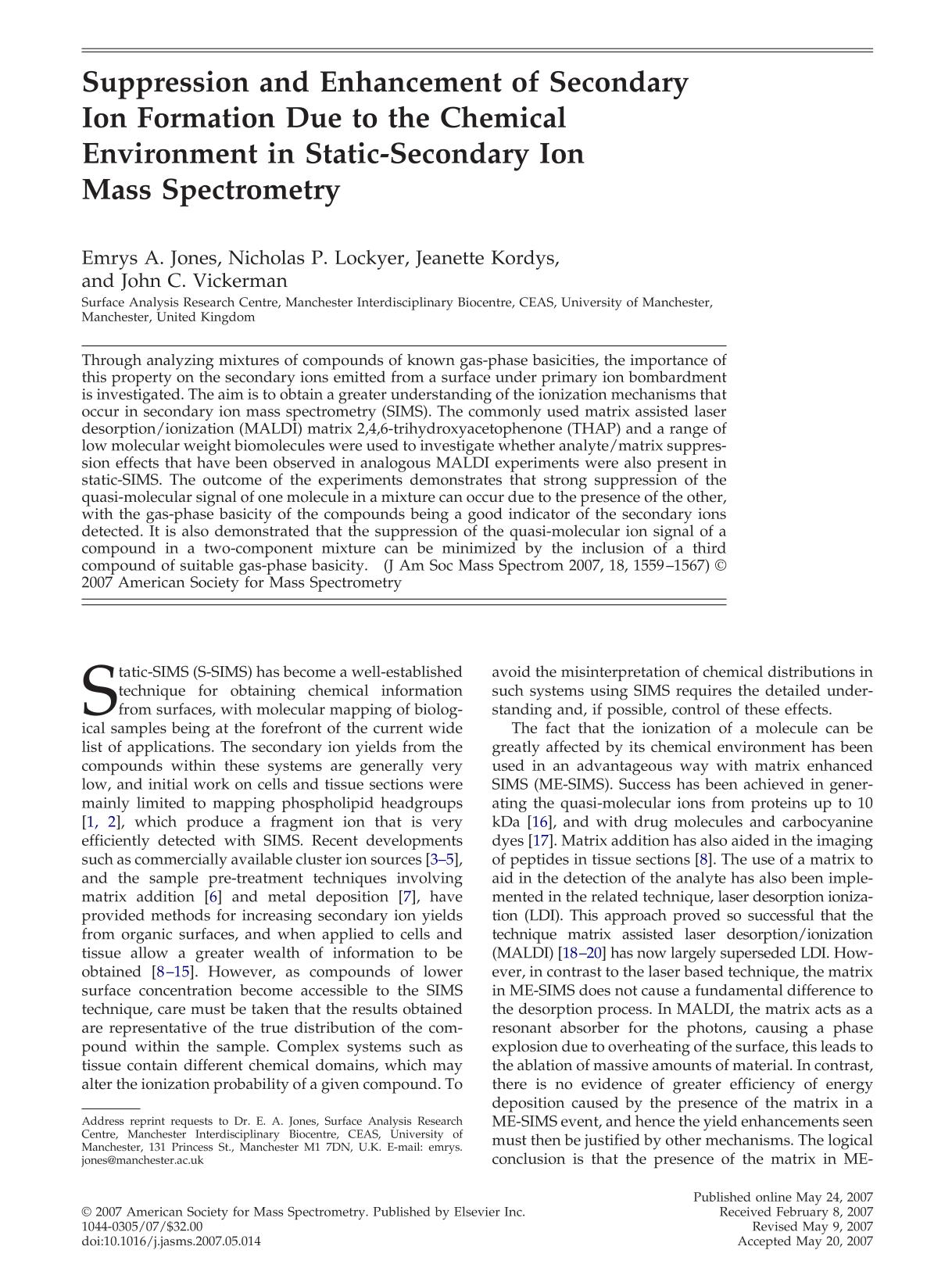 Book cover Suppression and Enhancement of Secondary Ion Formation Due to the Chemical Environment in Static-Secondary Ion Mass Spectrometry