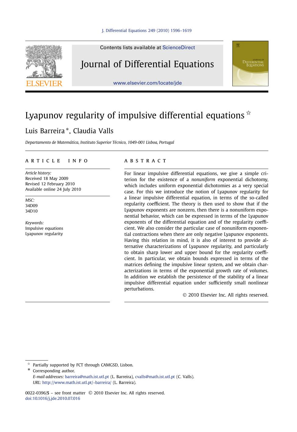 Book cover Lyapunov regularity of impulsive differential equations