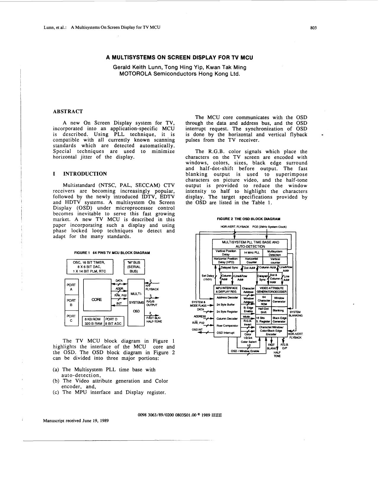 Book cover A multisystems on screen display for TV MCU