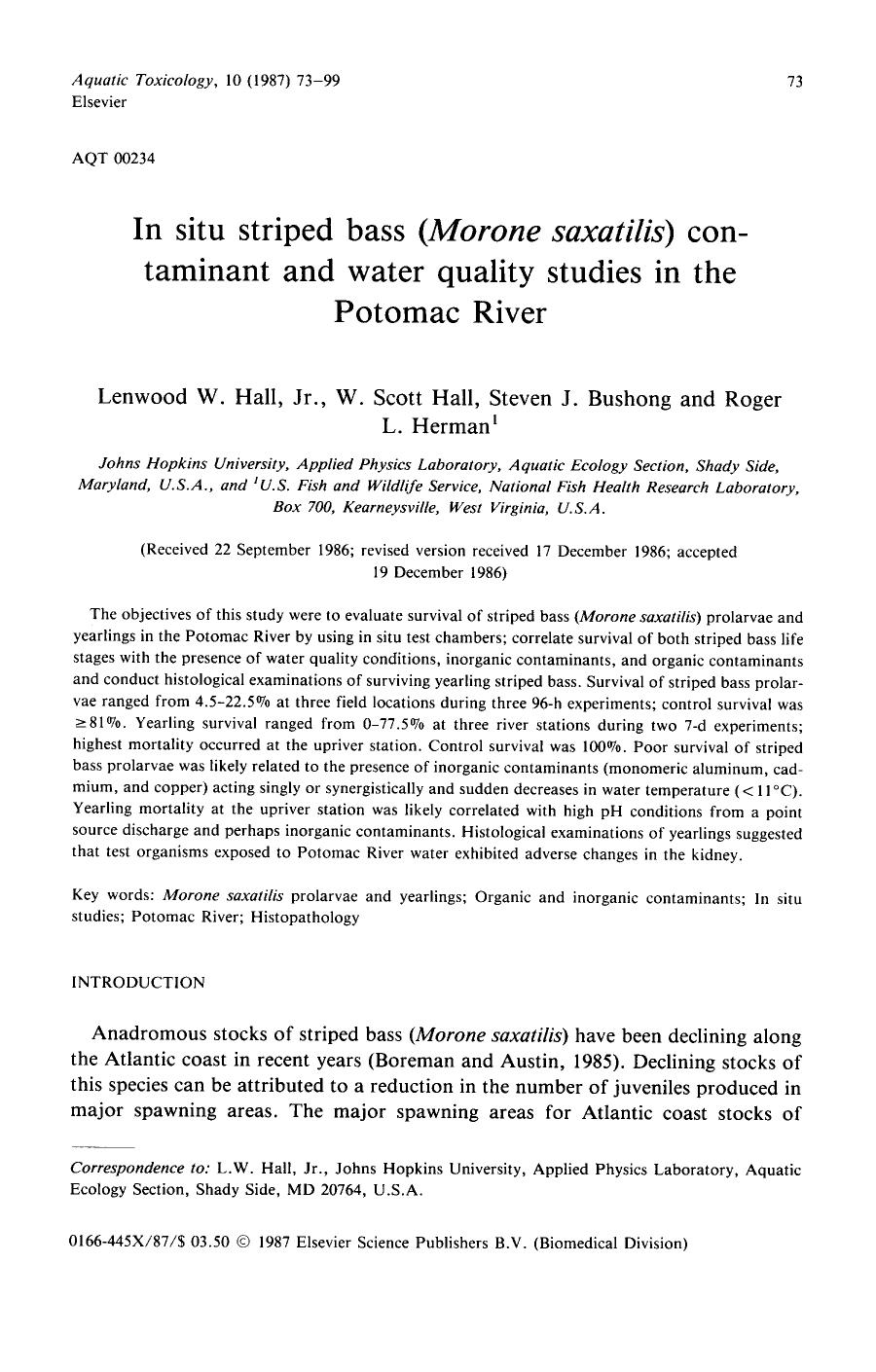 Book cover In situ striped bass (Morone saxatilis) contaminant and water quality studies in the Potomac River