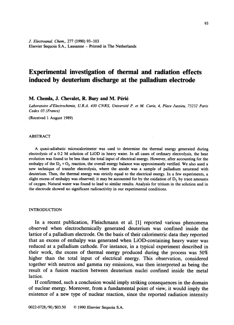 Book cover Experimental investigation of thermal and radiation effects induced by deuterium discharge at the palladium electrode
