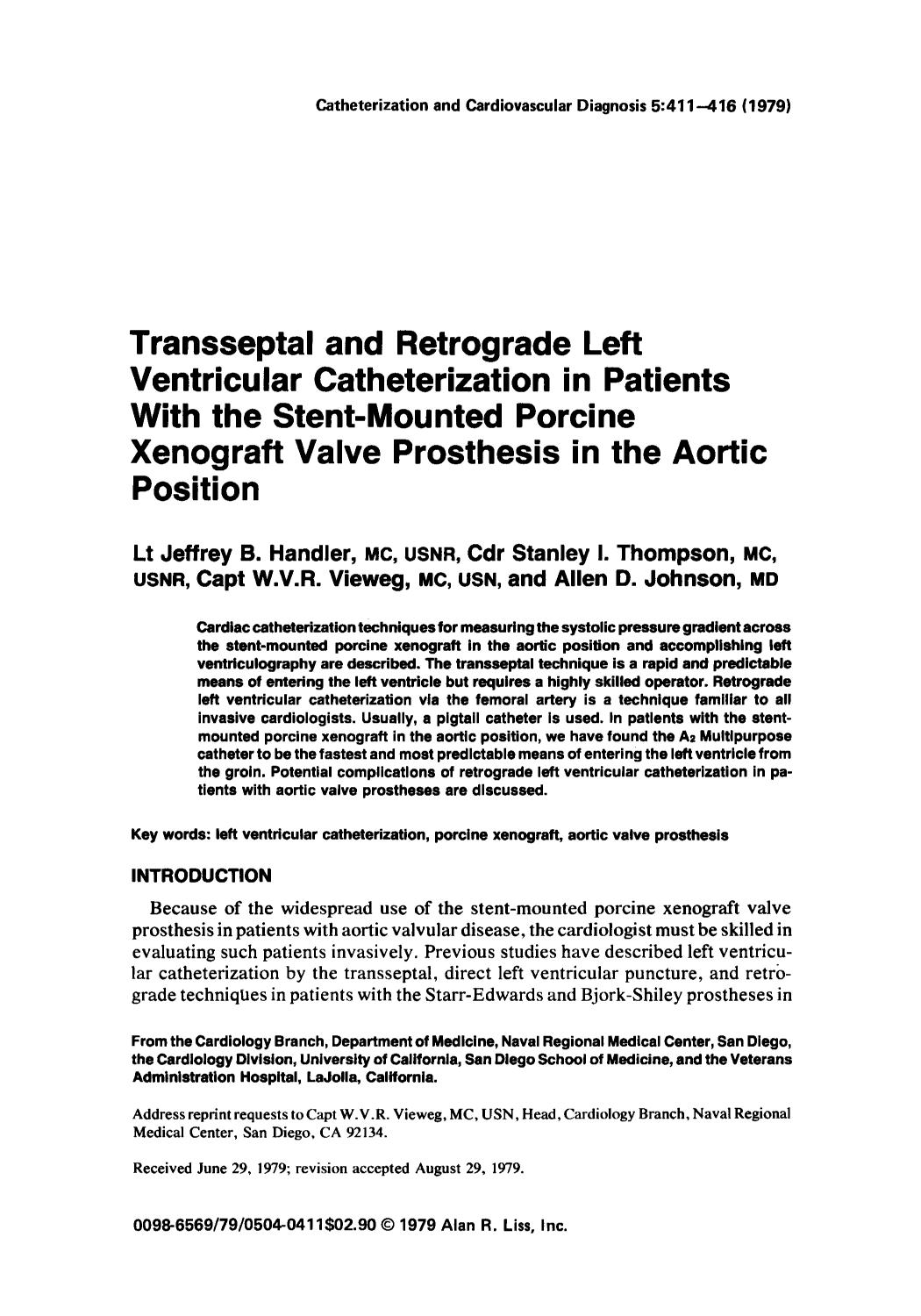 Copertina del libro Transseptal and retrograde left ventricular catheterization in patients with the stent-mounted porcine xenograft valve prosthesis in the aortic position