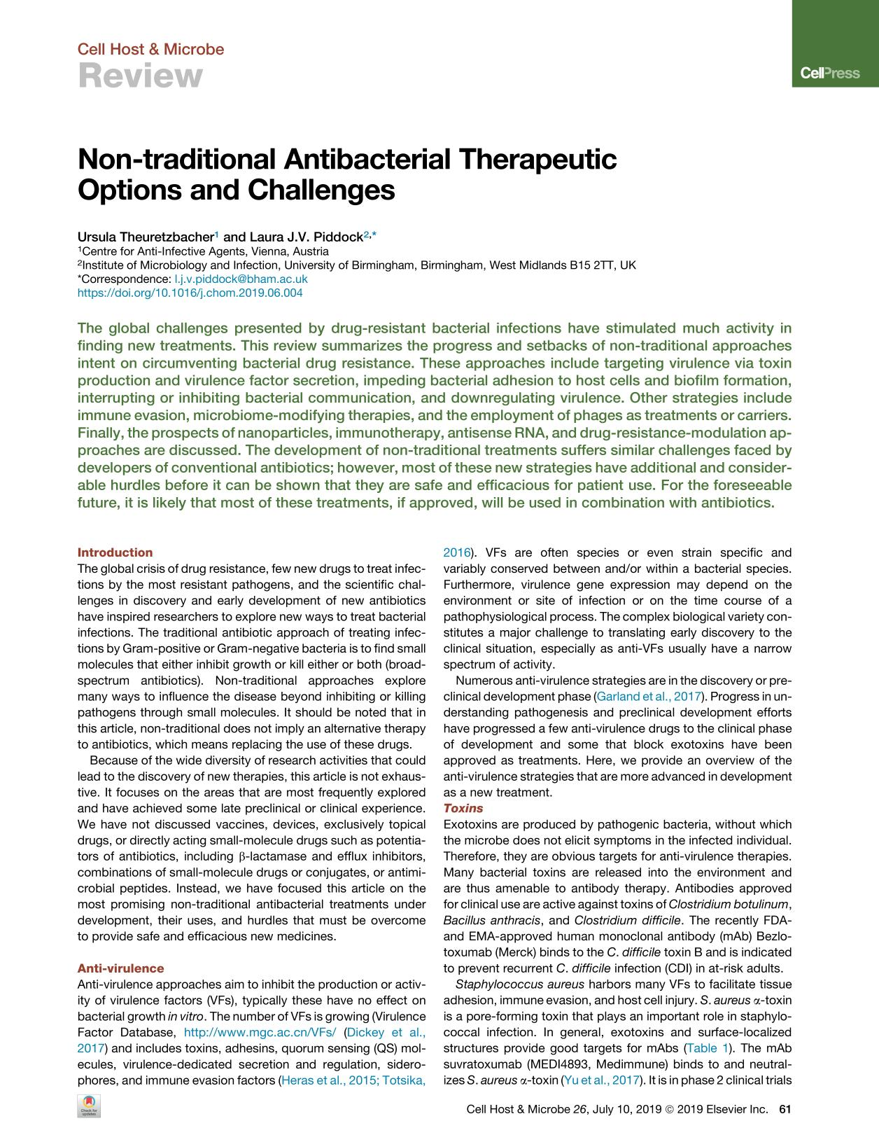 Book cover Non-traditional Antibacterial Therapeutic Options and Challenges