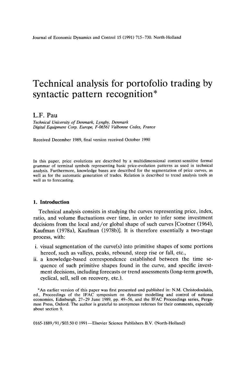 Book cover Technical analysis for portfolio trading by syntactic pattern recognition