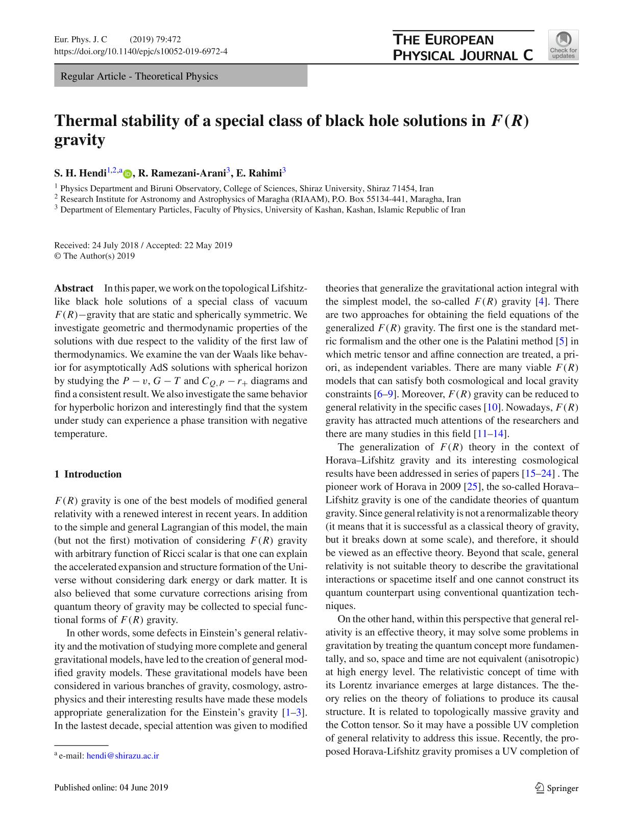 Book cover Thermal stability of a special class of black hole solutions in F(R) gravity