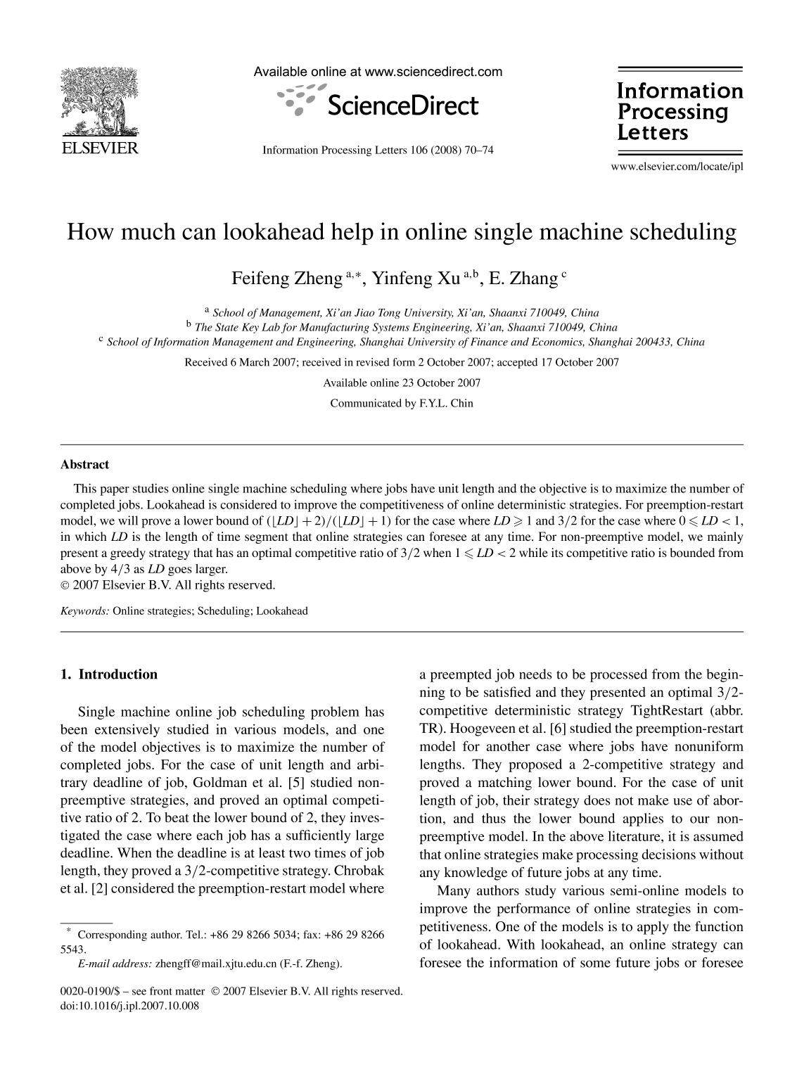 Book cover How much can lookahead help in online single machine scheduling