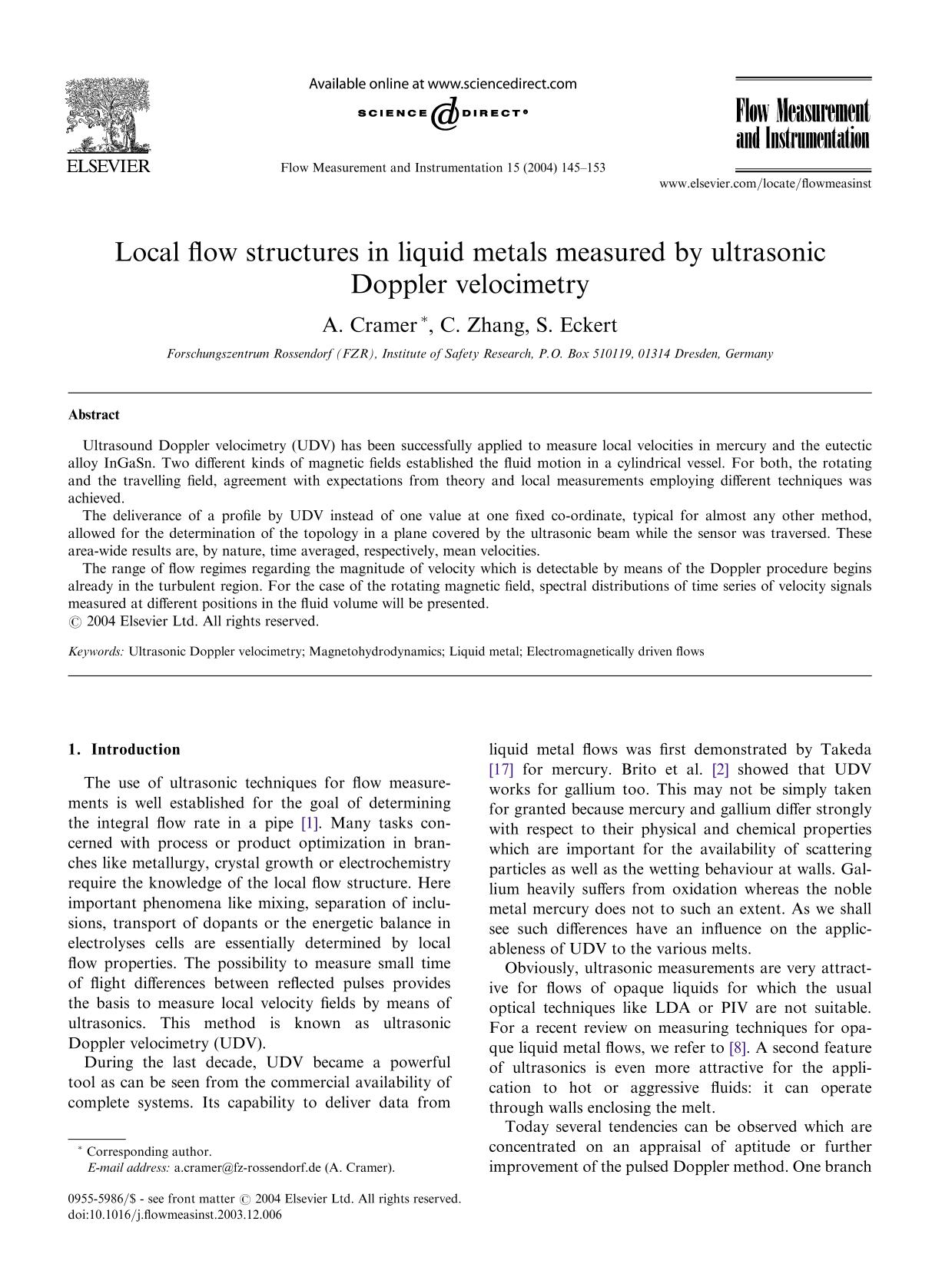 Book cover Local flow structures in liquid metals measured by ultrasonic Doppler velocimetry