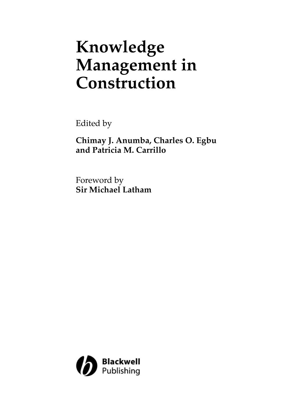 Book cover Knowledge Management in Construction    Frontmatter