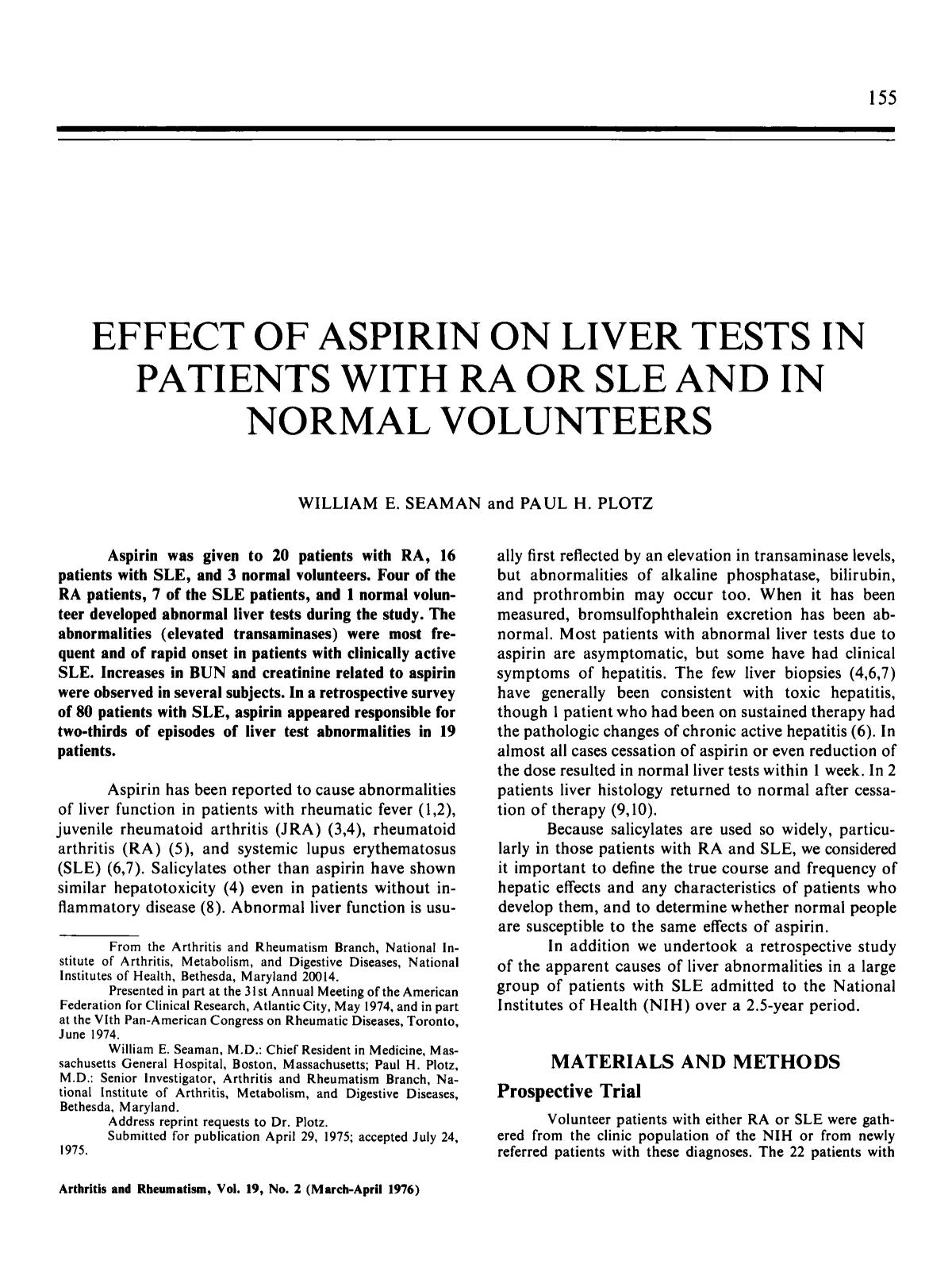 Book cover Effect of aspirin on liver tests in patients with ra or sle and in normal volunteers