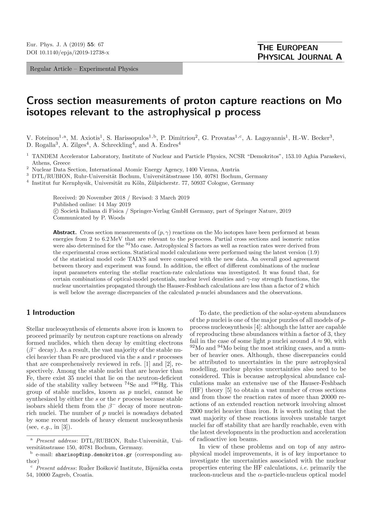 Book cover Cross section measurements of proton capture reactions on Mo isotopes relevant to the astrophysical p process