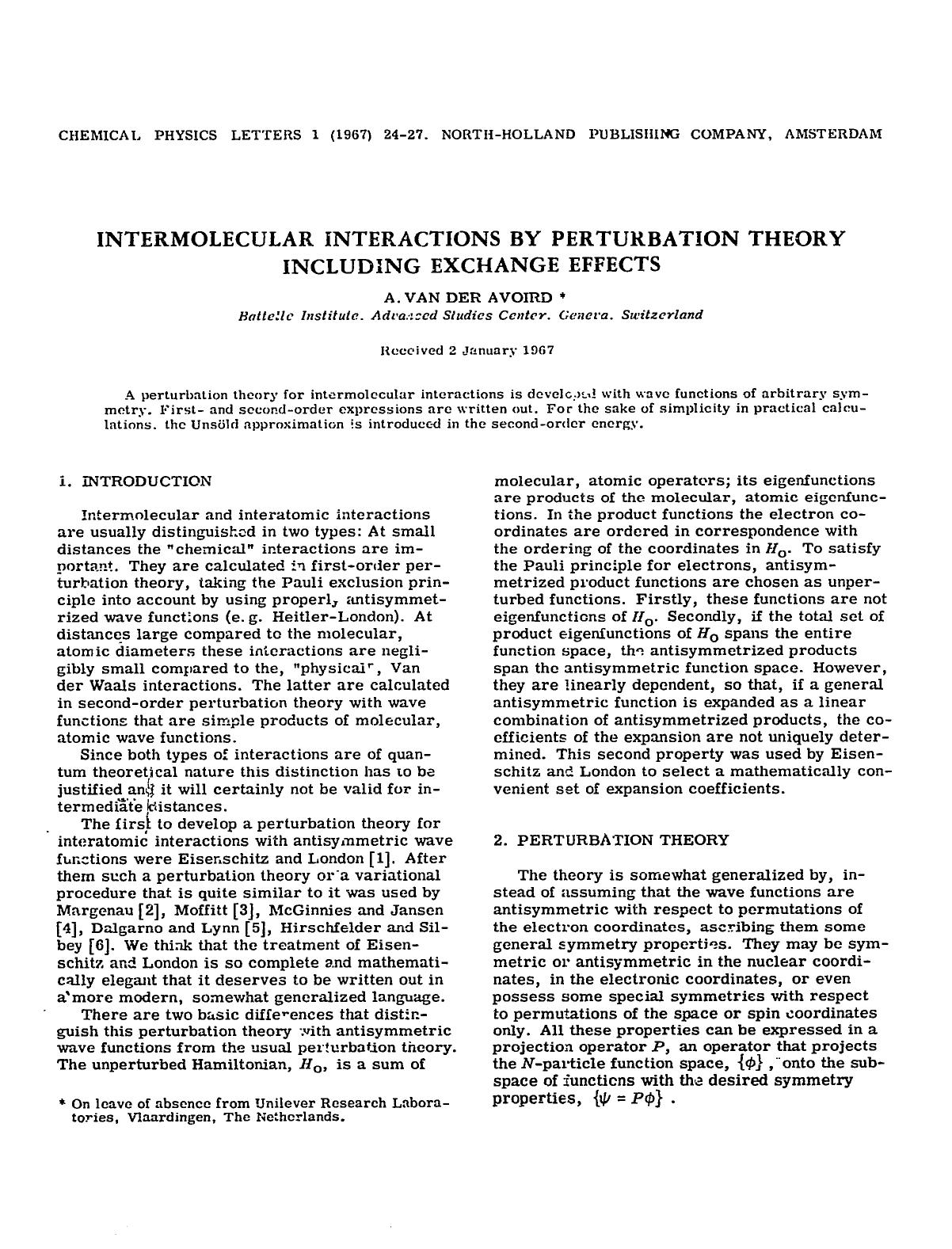 Book cover Intermolecular interactions by perturbation theory including exchange effects