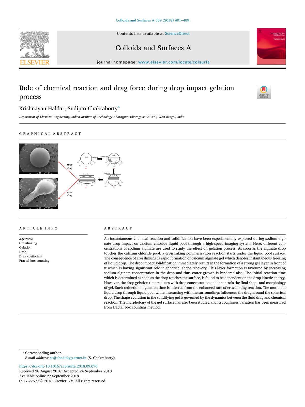 Book cover Role of chemical reaction and drag force during drop impact gelation process