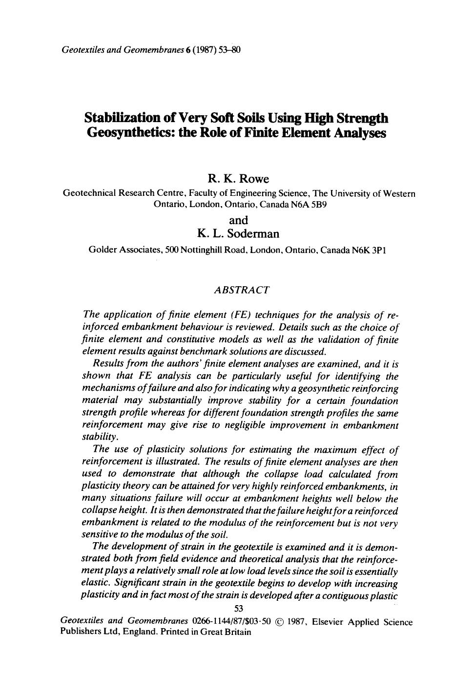 Book cover Stabilization of very soft soils using high strength geosynthetics: the role of finite element analyses