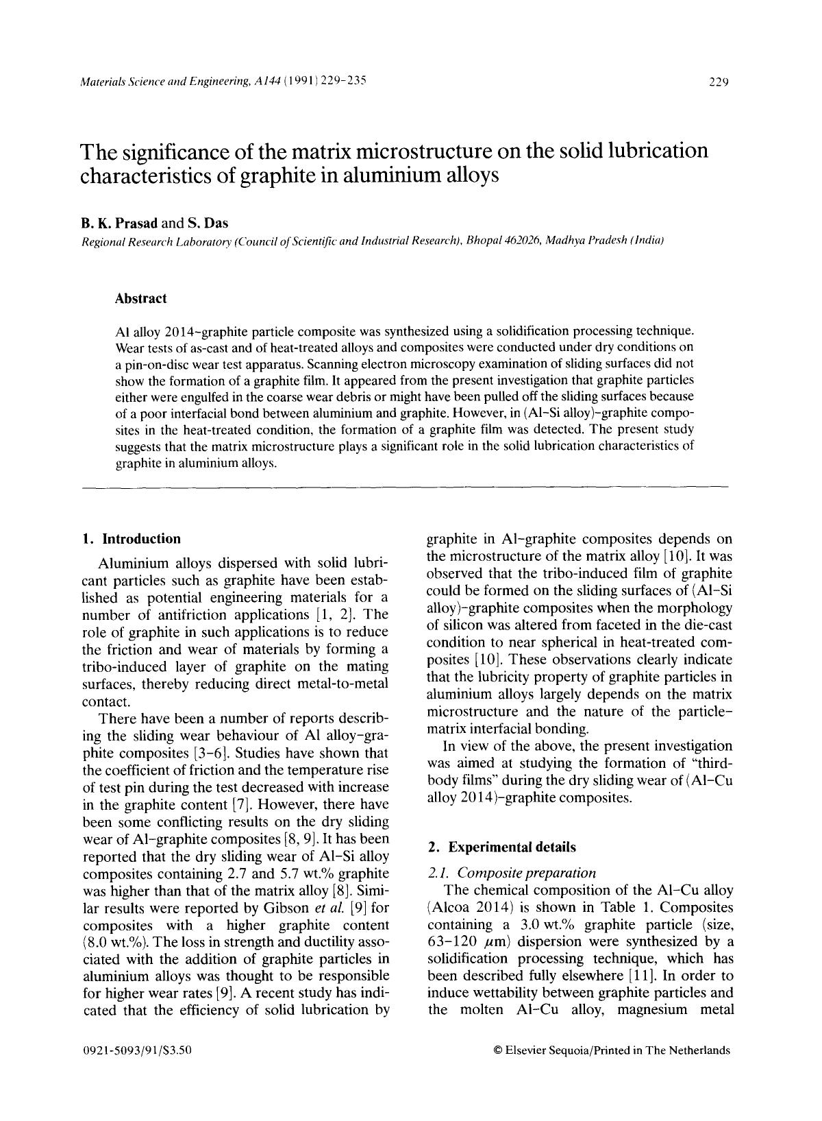 Обкладинка книги The significance of the matrix microstructure on the solid lubrication characteristics of graphite in aluminium alloys