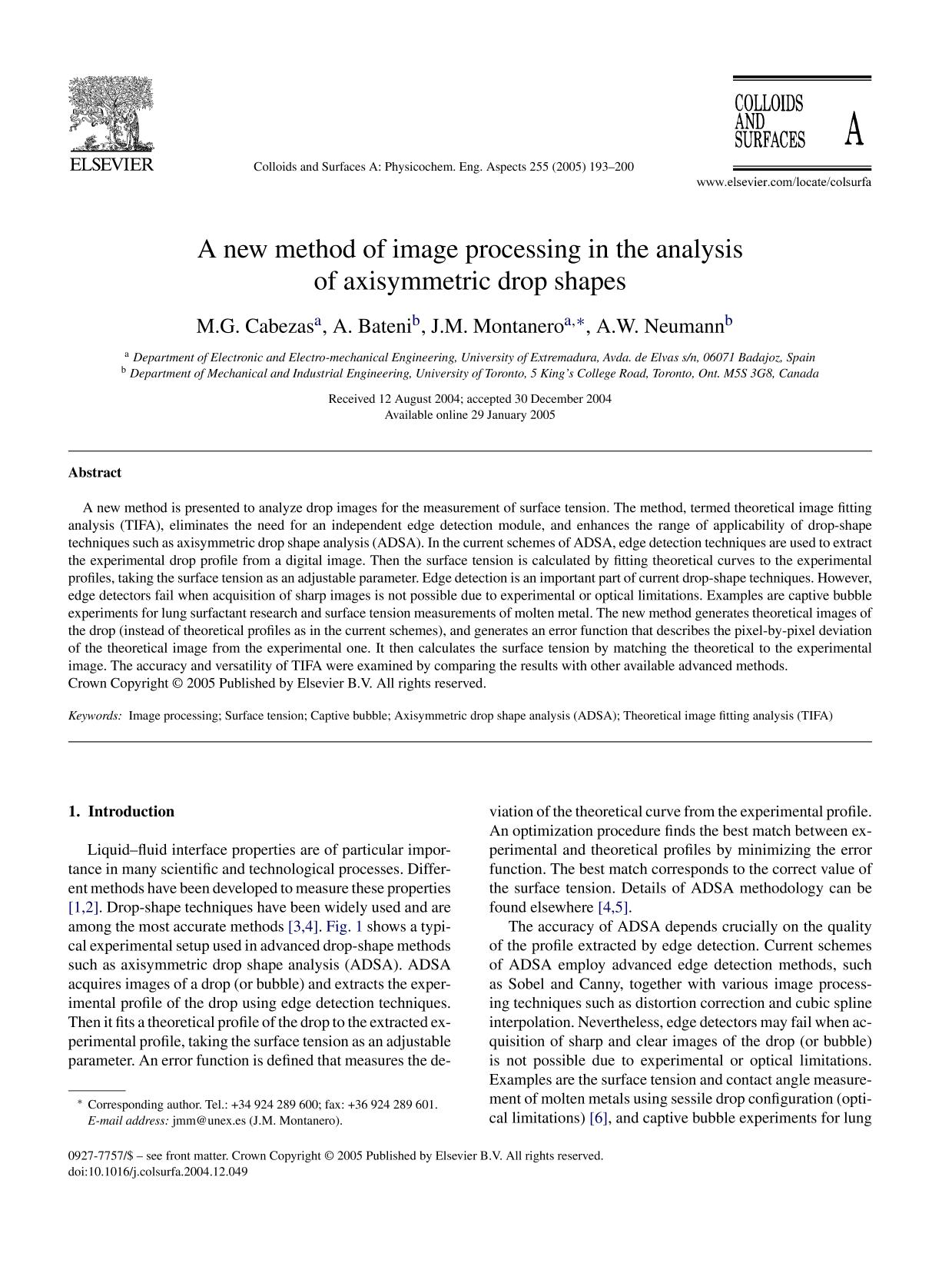 Обложка книги A new method of image processing in the analysis of axisymmetric drop shapes