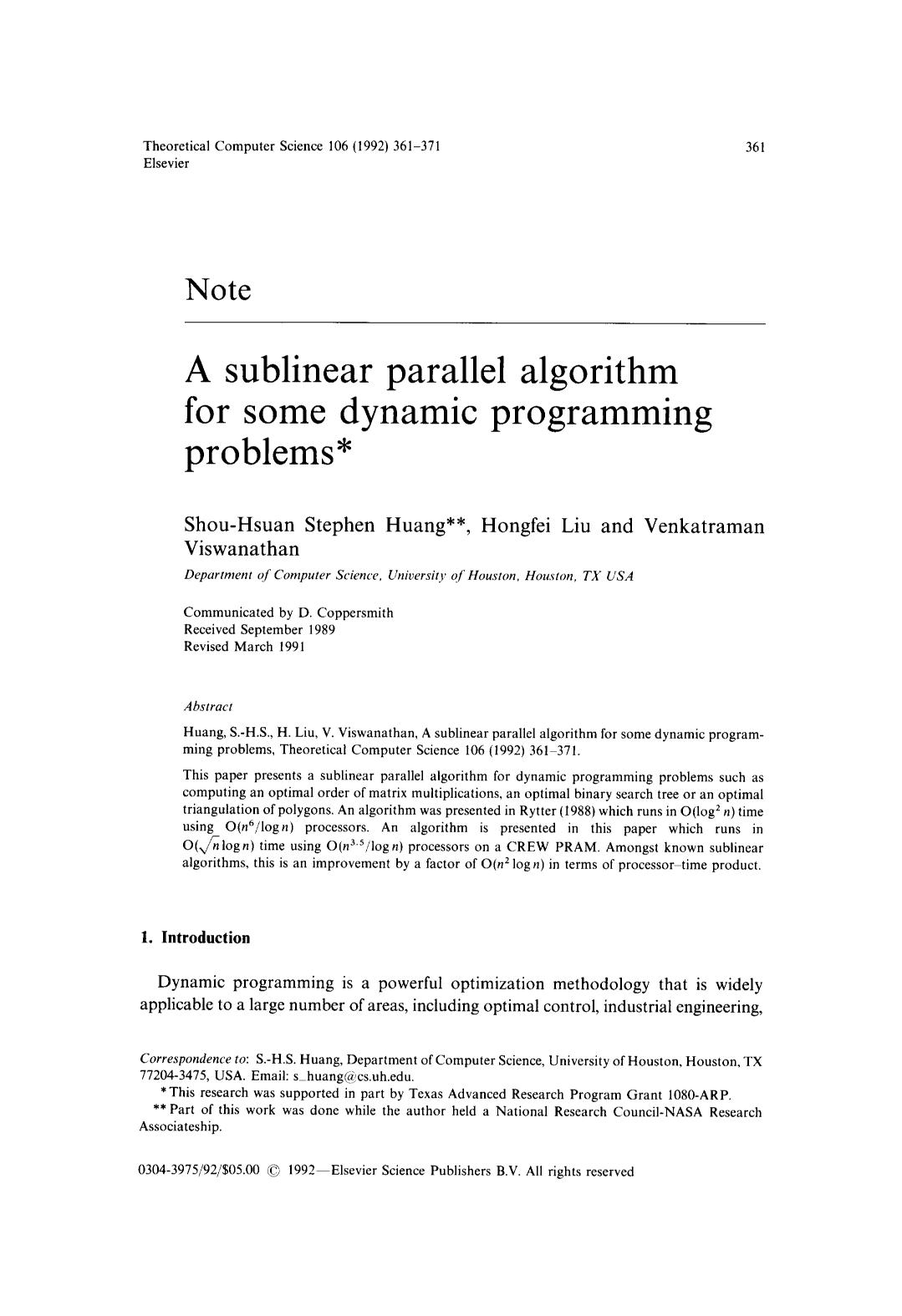 Book cover A sublinear parallel algorithm for some dynamic programming problems
