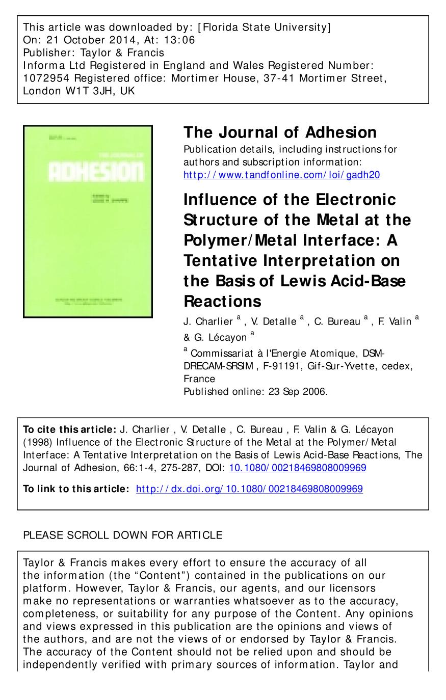 Book cover Influence of the Electronic Structure of the Metal at the Polymer/Metal Interface: A Tentative Interpretation on the Basis of Lewis Acid-Base Reactions