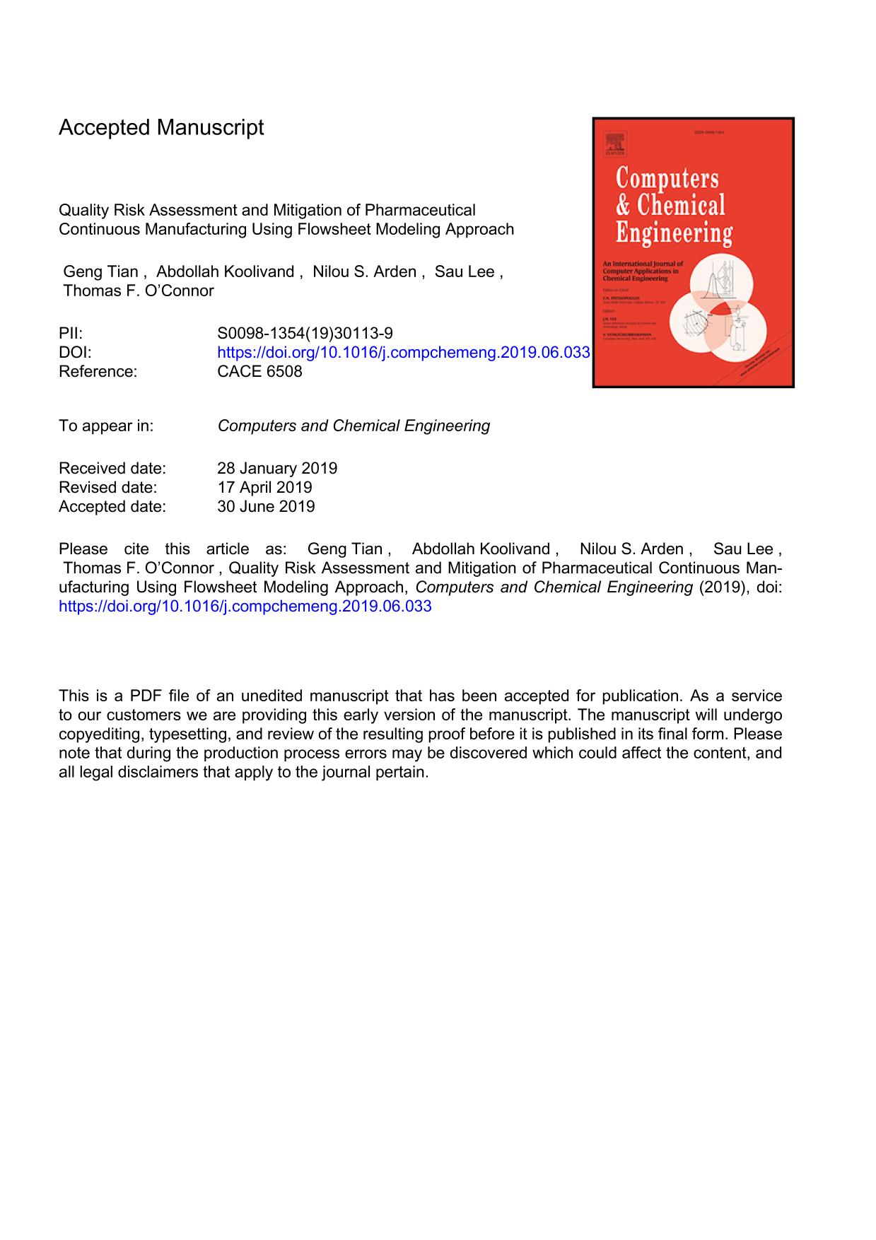 Book cover Quality Risk Assessment and Mitigation of Pharmaceutical Continuous Manufacturing Using Flowsheet Modeling Approach