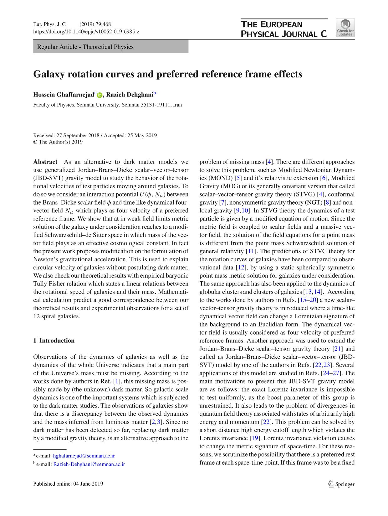 Book cover Galaxy rotation curves and preferred reference frame effects
