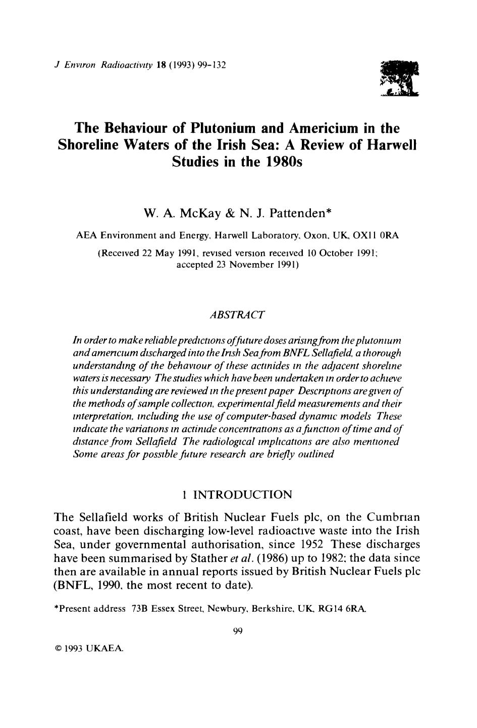 Book cover The behaviour of plutonium and americium in the shoreline waters of the Irish Sea: A review of Harwell studies in the 1990s