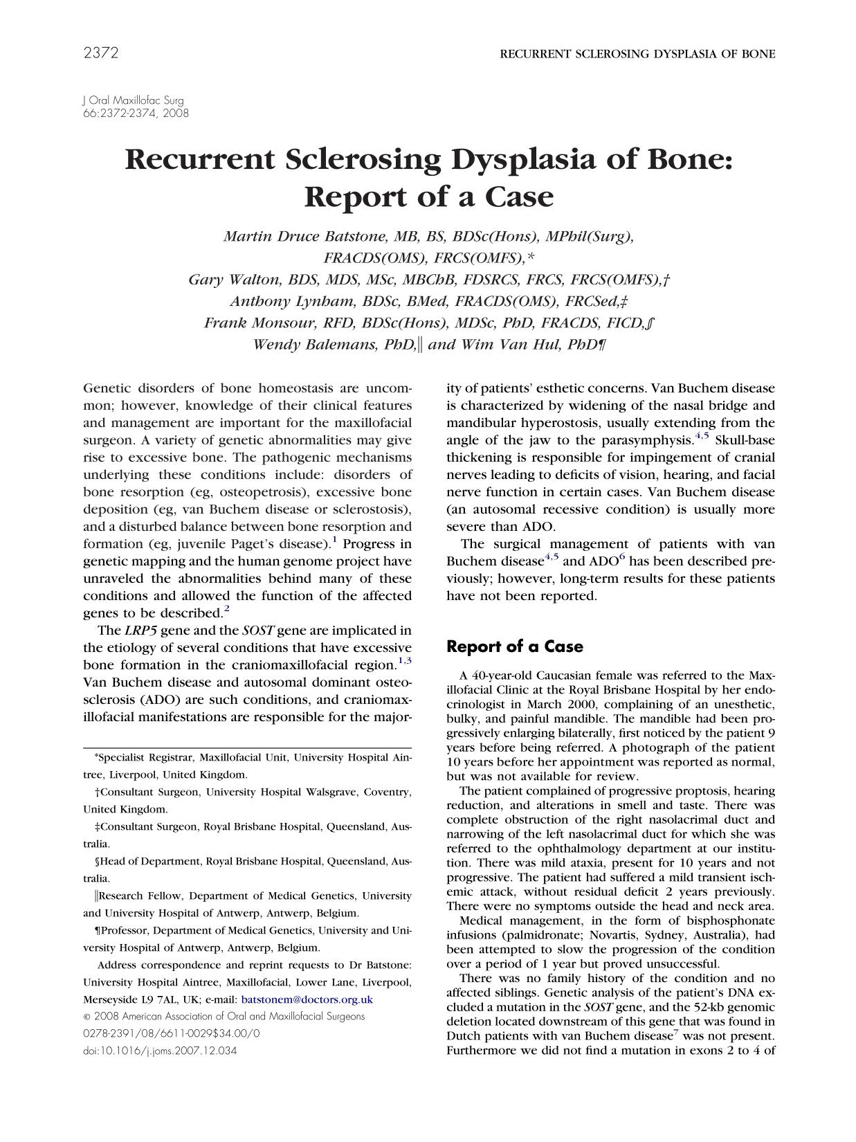 Book cover Recurrent Sclerosing Dysplasia of Bone: Report of a Case