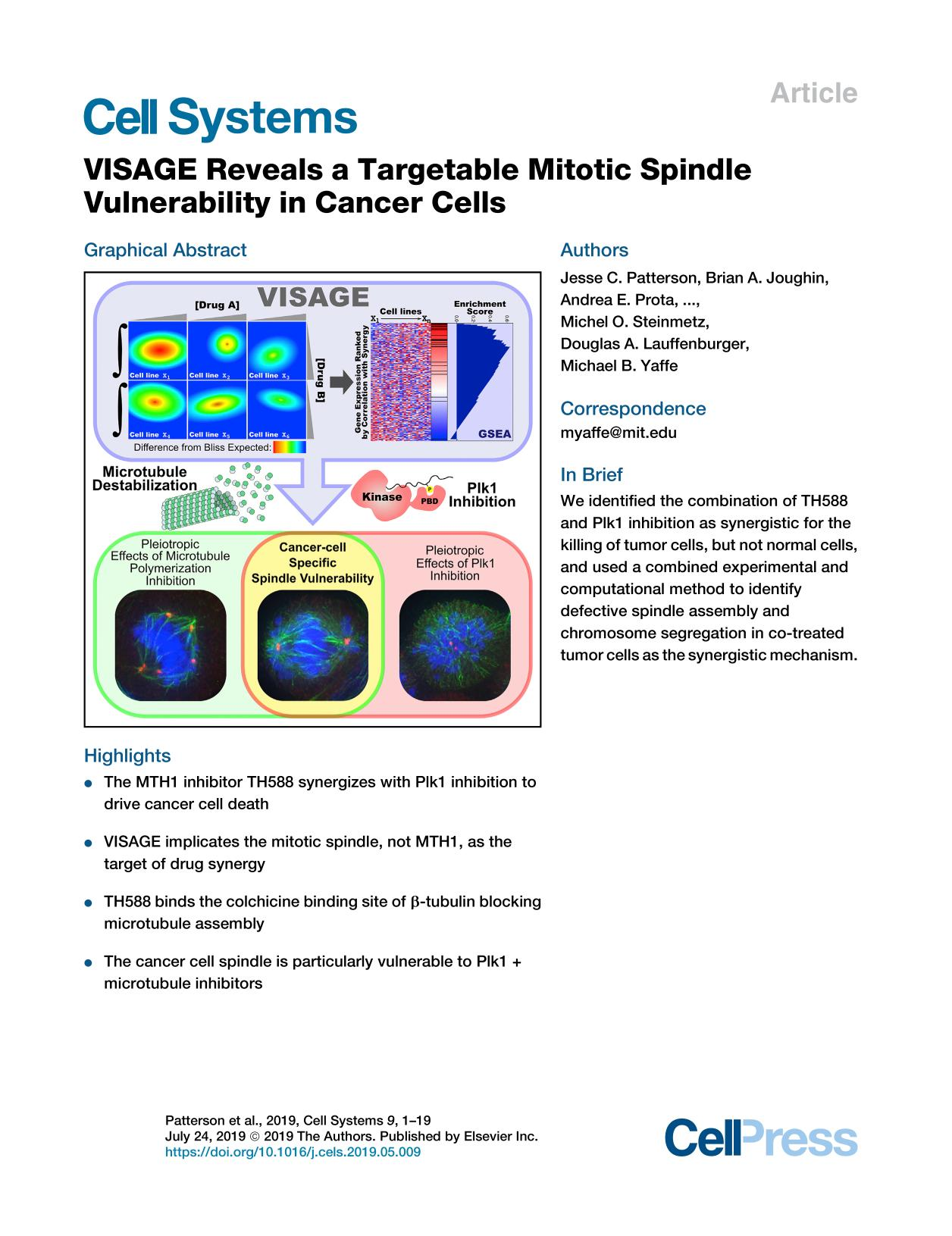 Book cover VISAGE Reveals a Targetable Mitotic Spindle Vulnerability in Cancer Cells